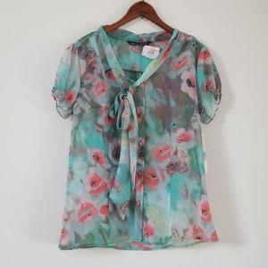 Zac & Rachel Mint Coral short sleeve blouse